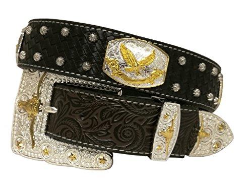 New Mens Western Cowboy Cowgirl Gold Longhorn Eagle/Falcon/Hawk Concho Shiny Leather Belt