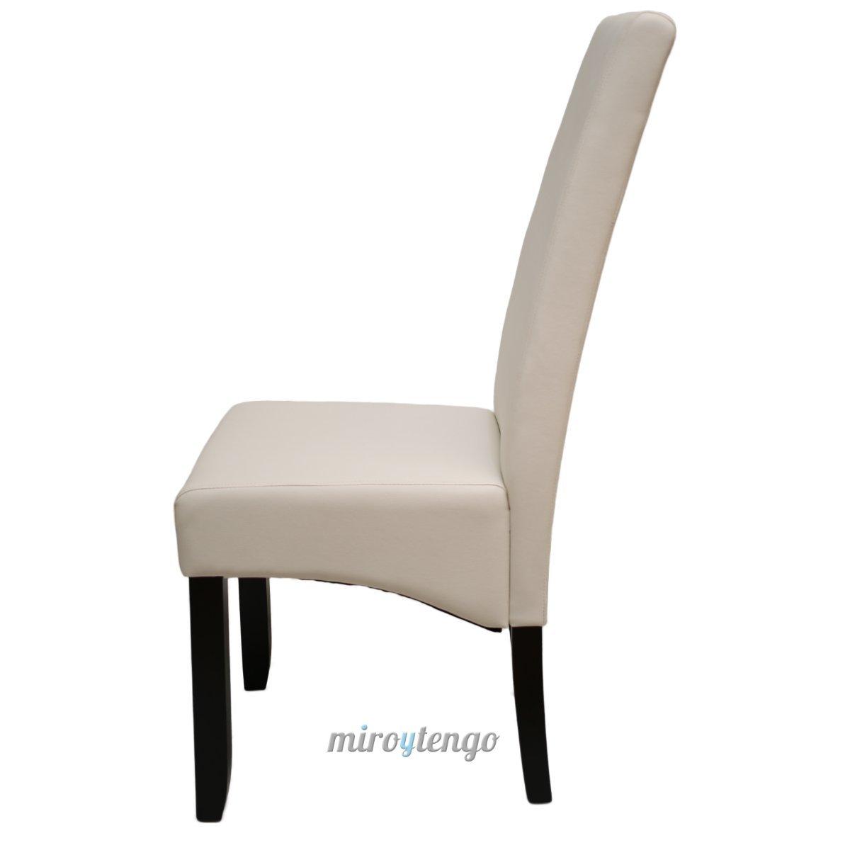 Pack de 4 sillas Osaka Blancas de salón Comedor de Polipiel Blanco Roto y Acolchadas Modelo, Modernas, económicas. Altura 108cm / Asiento 49x49cm