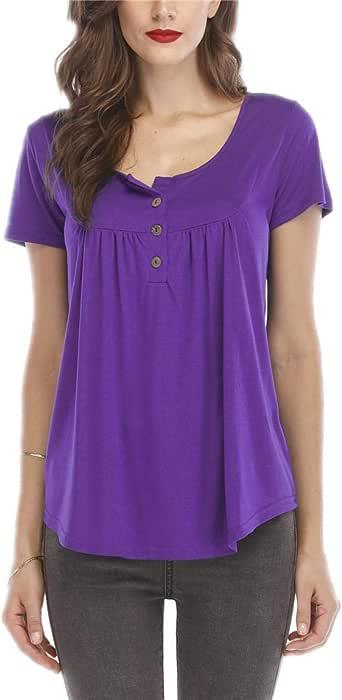 قميص تونك نسائي قصير الأكمام ورقبة مستديرة مع طيات بأزرار وأكمام قصيرة (/ M)