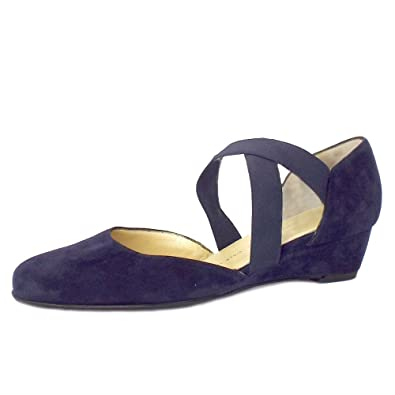 694d6fb55df Peter Kaiser Jaila Ladies Low Wedge Shoes in Navy Suede NAVY SUEDE 9 ...