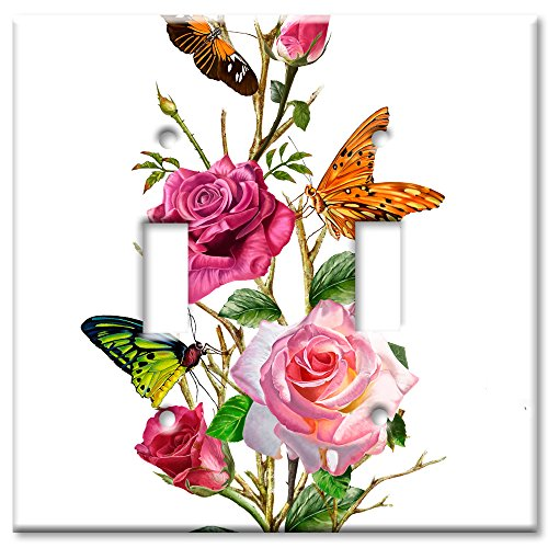 Art Plates Brand Double Toggle Switch / Wall Plate - Butterflies on Roses ()