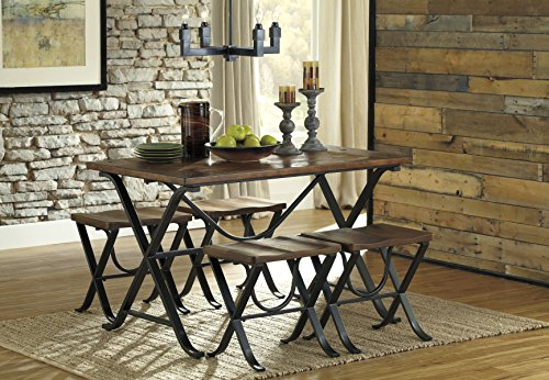 Frey Industrial Look Dining Table with 4 Stools