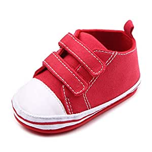 Annnowl Baby Sneakers Canvas Shoes 0-18 Months (9-12 Months, Red)