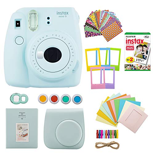 Fujifilm INSTAX Mini 9 Instant Camera (Ice Blue) with Twin Instant Film Pack (20 Shots) and 7-1 Accessory Gift Bundle (3 Items)