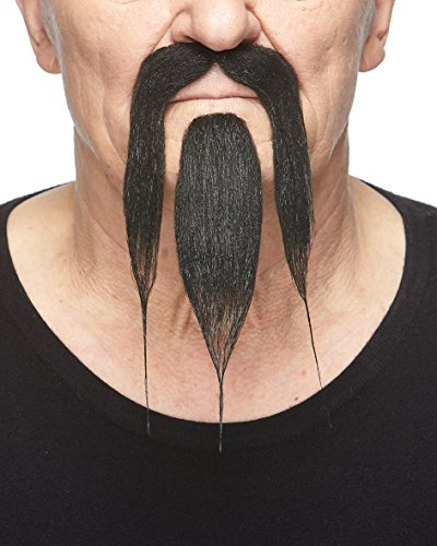 Mustaches Self Adhesive, Novelty, Shaolin Fake Beard and Fake Mustache, False Facial Hair, Costume Accessory for Adults, Black Color]()