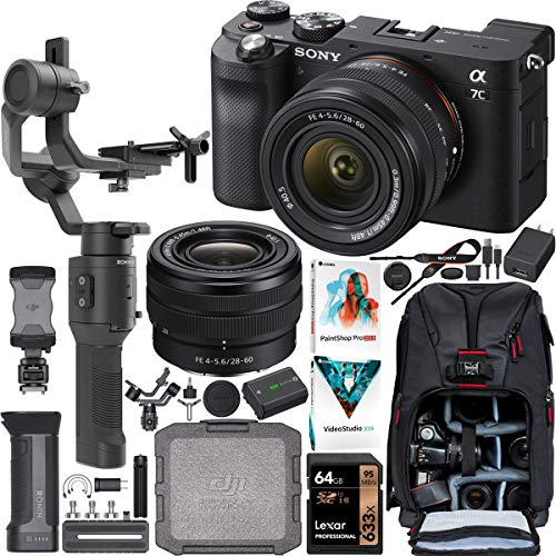 Sony a7C Mirrorless Full Frame Camera Body with 28-60mm F4-5.6 Lens Black ILCE7CL/B Filmmaker's Kit w/DJI Ronin-SC 3-Axis Handheld Gimbal Stabilizer Bundle + Deco Photo Backpack Case + Accessories
