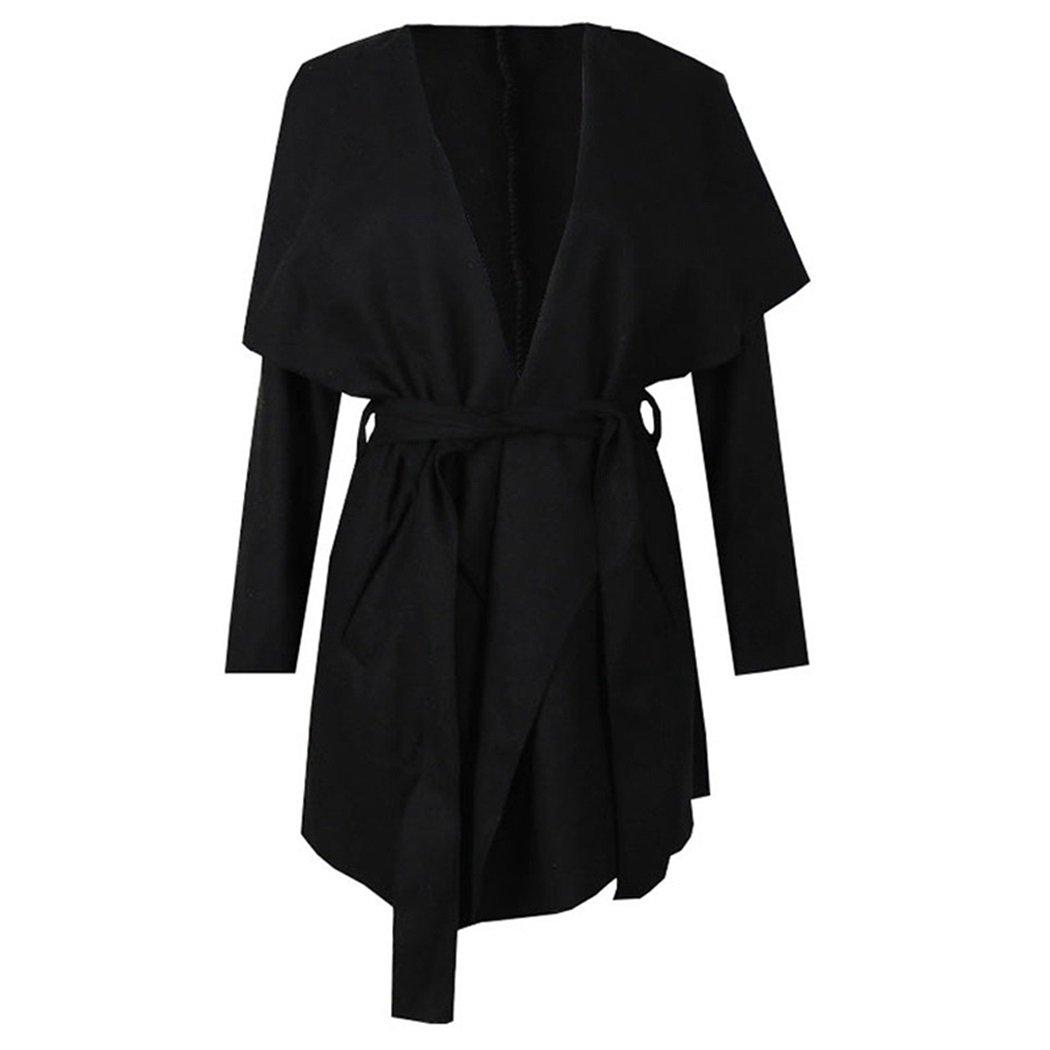 XWDA Womens Winter Lapel Long Sleeve Jacket Woolen Trench Coat Outwear with Belt
