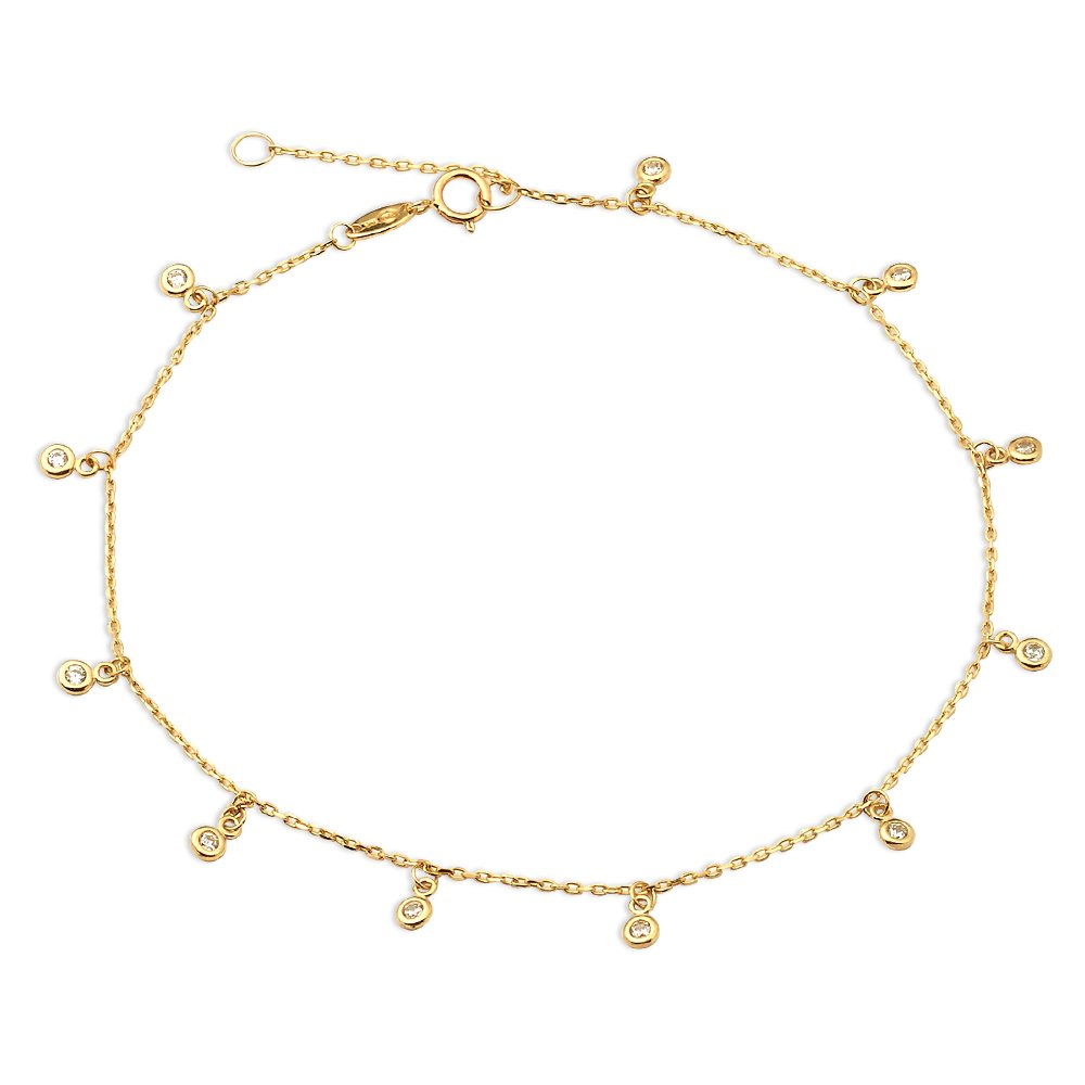 LoveBling 10K Yellow Gold .50mm Diamond Cut Rolo Chain with 11 CZ Stone pendants Anklet Adjustable 9'' to 10'' (#17)