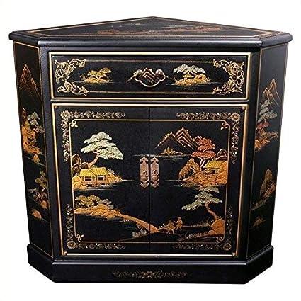 Amazon Com Oriental Furniture Japanese Corner Cabinet Black
