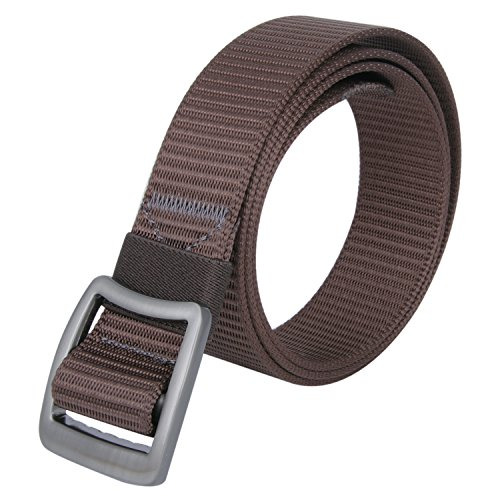 JINIU Men's Nylon Canvas Web Belt Military Style Casual Outdoor Army Tactical Webbing Buckle Belt Coffee Color (JNSG13)