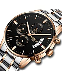 Men's Watches Chronograph Waterproof Military Quartz Luxury Wristwatches for Men Stainless Steel Band Black Gold Color