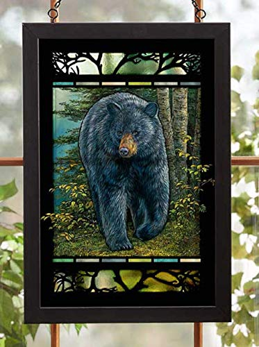 (Darby Creek Trading Black Bear in Forrest Stained Glass Art Hanging)