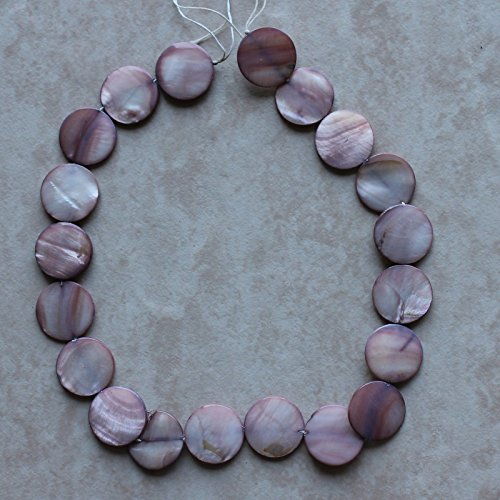 Mother Of Pearl Coin Beads - 20mm Lilac Purple Mother of Pearl Shell Disc Coin Loose Beads 15.5