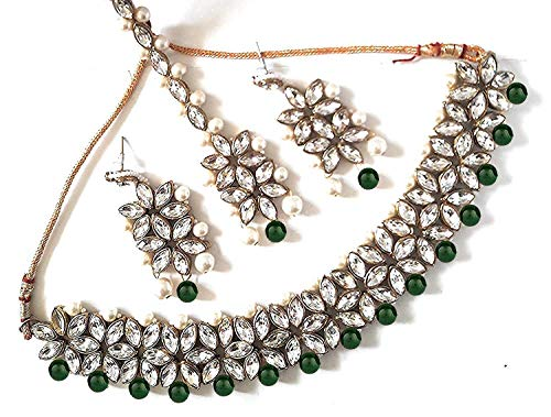 (YouBella Jewellery Bollywood Ethnic Traditional Indian Choker Necklace Set with Earrings and Maang Tikka for Women (Green))