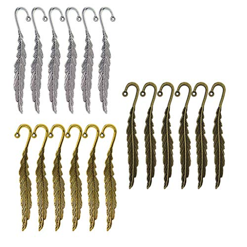 30/18 Packs Antique Metal Bookmarks Book Mark with Hook Jewelry Findings DIY (Style - 18 Pieces) ()