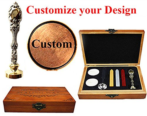 MNYR Retro Customize Personalized Custom Monogram Letter Logo Design Sealing Wax Seal Stamp Wedding Invitations Christmas Card Wax Seal Stamp Silver Metal Handle Candle Melting Spoon Wood Gift Box Kit ()