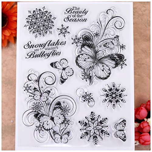 KWELLAM Merry Christmas Snowflakes Butterfly Clear Stamps for Card Making Decoration and DIY Scrapbooking