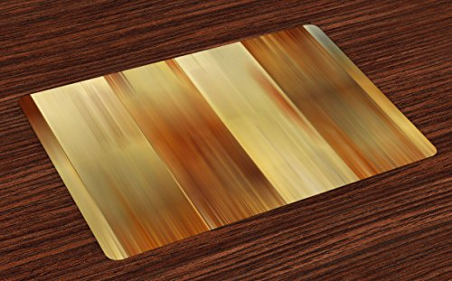 Ambesonne Earth Tones Place Mats Set of 4, Abstract Modern Design with Ombre Inspired Smooth Color Transitions, Washable Placemats for Dining Room Kitchen Table Decoration, Ginger Pale Yellow