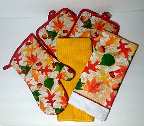 Autumn-Dishtowel-Set-Decorative-Oven-Mitt-2-Potholders-2-Dish-Towels-5-Items-Oak-Leaves-and-Acorns-Design