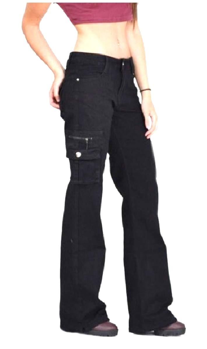Comaba Women's Fine Cotton Pure Colour Pocket Straight Mid Waist Pants Black S