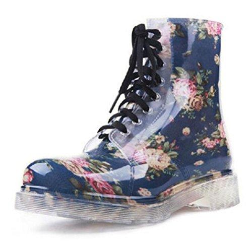 Las Mujeres Adultas Antideslizantes Tobillo Corto Alto Zapatos De Goma Botas De Lluvia Azul