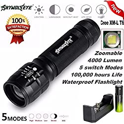 Flashlight,Baomabao 4000Lm Zoom CREE XM-L T6 LED 18650 Flashlight 5 Mode Torch Tactical Light Lamp