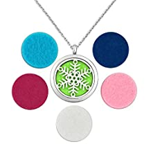 Charmed Craft Christmas Snowflake Stainless Steel Aromatherapy Essential Oil Diffuser Locket Pendant Necklace