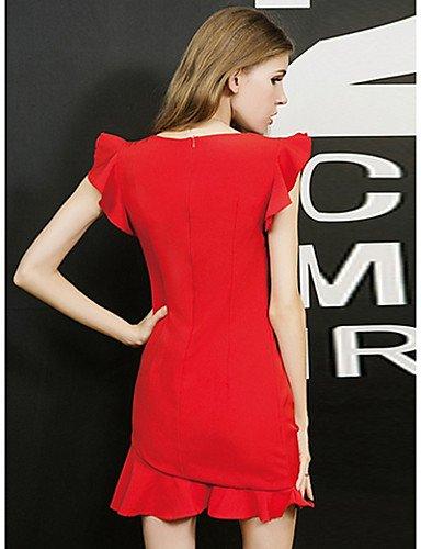 PU&PU Robe Aux femmes Gaine Simple,Couleur Pleine Col Arrondi Au dessus du genou Polyester , red-xl , red-xl