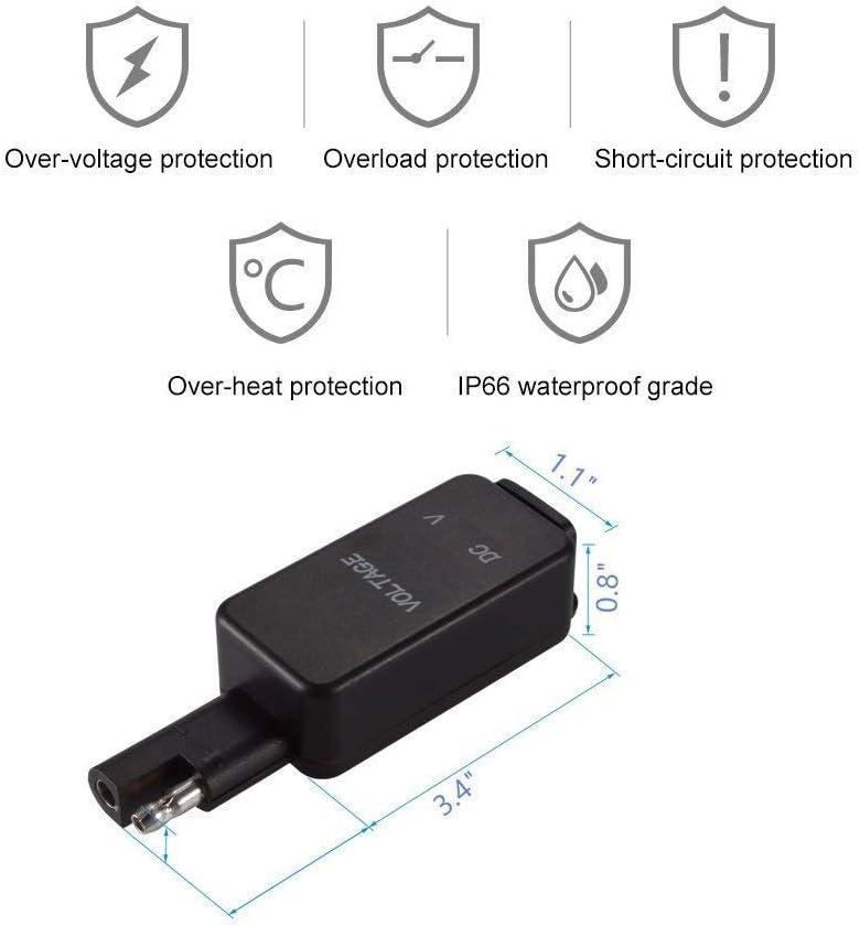 for Smart Phone Tablet GPS Fast USB Chargeur Socket Prise de Courant avec Voltm/ètre Moto D/éconnexion Rapide Fiche avec Chargeur Double USB /étanche Moto USB Chargeur SAE for Adaptateur USB