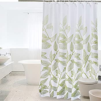 Uforme Light Green Leaves Shower Curtain Polyester Heavy Duty 60 X 72 Bath Waterproof And Mildew Resistant With Hooks