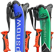 Ski Wall Mounted Rack, Holds 2 Pairs of Skis & Skiing Poles or Snowboard, for Home and Garage Storage, Wal