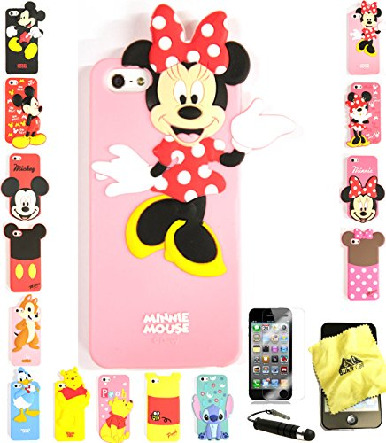 Bukit Cell ® 3D Cartoon Case Bundle - 4 items: ANIMATED MINNIE Cute Silicone Case Cover for iPhone SE 5S 5G + BUKIT CELL Trademark Cloth + Screen Protector + METALLIC Stylus Touch Pen