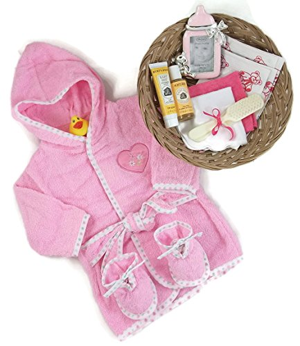Sunshine Gift Baskets - 11 Piece Bath Time Gift Set - Baby Bath Robe, Slippers, and Picture Frame (Pink) with Burt's Bees Shampoo and Lotion