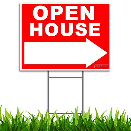 Large 24x18 - OPEN HOUSE w/Left or Right Arrow Yard Sign - Printed Front & Back + 24 Metal Ground Stake