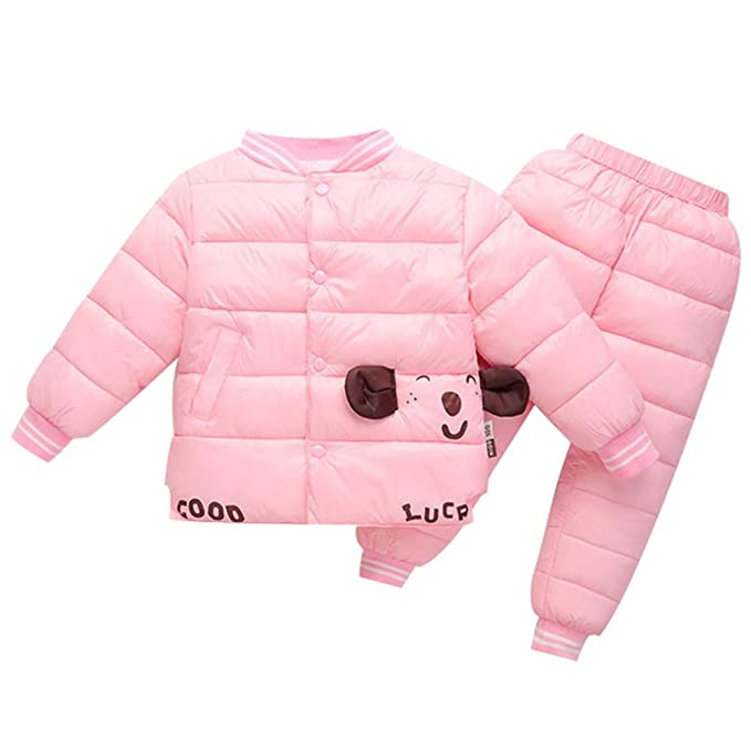 LSERVER Conjunto de Chaqueta + Pantalones para bebés Ropa Interior de Nieve  con Bolsillos 2 Piezas 49f098365d0