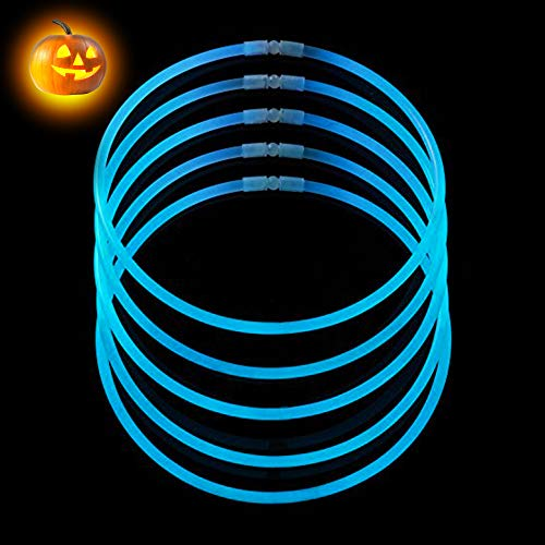 CoBeeGlow 50-Pack Glow Stick Necklaces Bulk Pack of 22 Inch Glowstick with Connectors | Non-Toxic and Safe for Kids| 6mm Thick for More Glow: Bring Joy to Your Life This Halloween