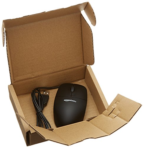 AmazonBasics 3-Button USB Wired Mouse (Black)
