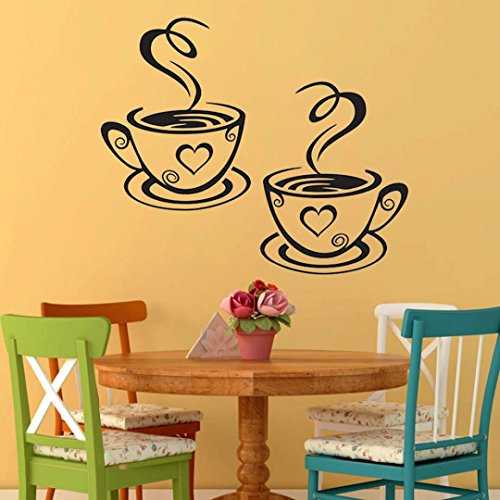 Jujunx Coffee Cups Kitchen Wall Stickers Cafe Vinyl Art Decals Pub Cafe Home Decals (Black)