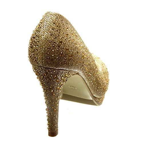Angkorly - Zapatillas de Moda Tacón escarpín stiletto sexy la noche mujer strass brillante Talón Tacón de aguja alto 9.5 CM - Oro