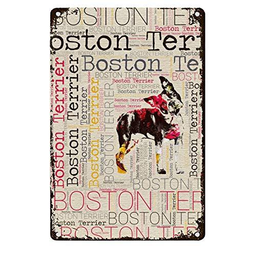 Una Stowe Boston Terrier Tin Signs Metal Posters Bar Pub Club Tavern Garage Wall Decor Retro Iron Plaque