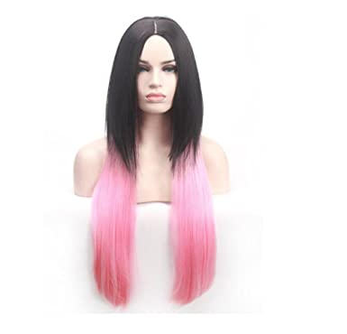 Image Unavailable. Image not available for. Color  Cos store Womens Pink  Black Straight Cosplay Wigs ... c9f6c93ab