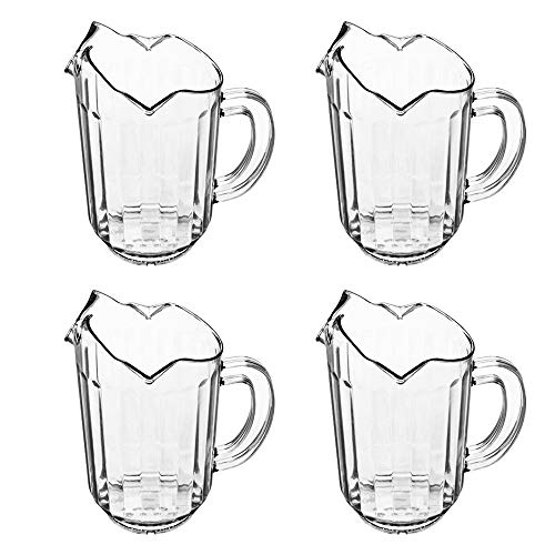 (Set of 4) 1 Quart Plastic Water Pitcher, 32 oz Clear Polycarbonate Beverage Pitcher with 3 Spouts, Restaurant Water Pitchers by Tezzorio ()