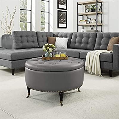 Brika Home Faux Leather Tufted Storage Ottoman in Gray