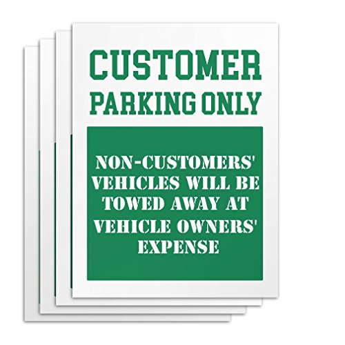Customer Parking Only Signs - 4 Pieces - Rust Free - Clear & Visible Text - Light Tough Long-Lasting - Get People To Obey Commands Effortlessly from Kaba Flair