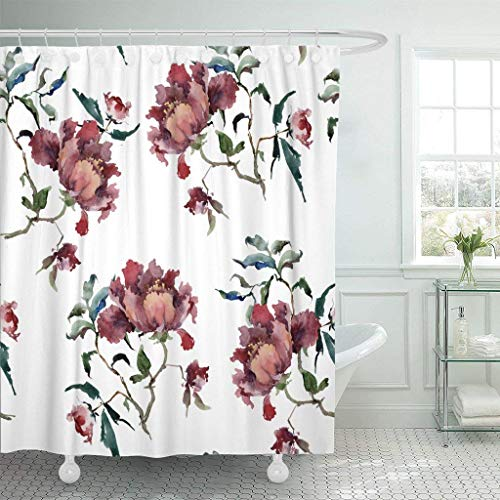 Wine Red Blends Bordeaux (PAUSEBOLL Colorful Bordeaux with Beautiful Wine Red Peonies On White Watercolor Painting in Green Beauty Bloom Blossom Shower Curtain Bathroom with Hooks,Mildew Resistant Waterproof Polyester Curtain)