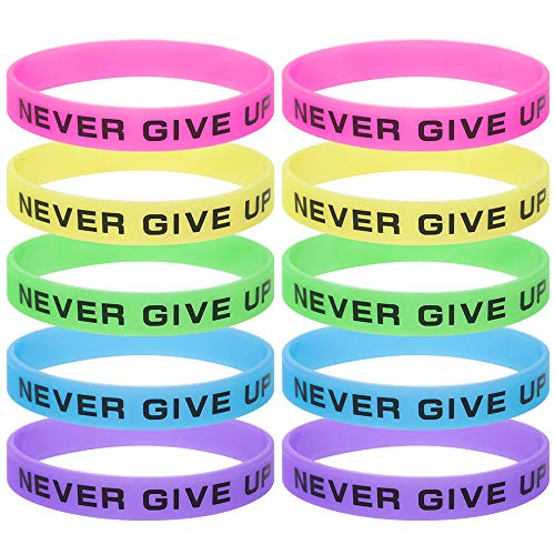 GOGO 10 Pcs Never Give Up Silicone Wristbands, Glow-in-the-dark Rubber Bracelets, Party Rubber Bands -