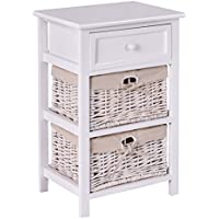 Giantex White Night Stand 3 Tiers 1 Drawer Bedside End Table Organizer Wood W/2 Baskets (White)