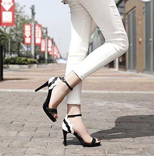 Blanco Imitación Color Aguja Verano Alto De Para El Tacones Impermeable Mujer Plataforma Mujer Tacón Diamantes Zapatos Sandalias Con Altos Cuero vHwpqRp