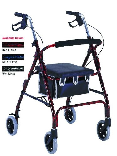 PMI1037 - Professional Medical Imports (pmi) Flame Finish Aluminum Rollator with Loop Brakes, Flame Red