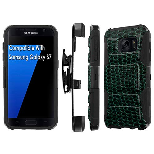 (Samsung Galaxy S7 / GS7 Deluxe Phone Case by [TalkingCase], Black/Black Premium Dual Layer Armor Case, w/Holster & Kickstand Phone Case for Samsung Galaxy S7 [Green Snake Skin] Design in USA)